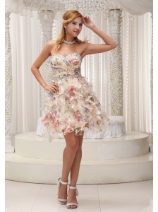 Beaded Decorate Sweetheart Neckline and Waist Colorful Printing Mini-length Prom / Homecoming Dress For 2013