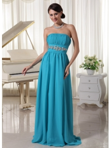 Beaded Decorate Waist Ruched Teal Chiffon Prom Dress With Brush Train