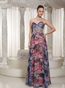 Beaded Embellishment Floor-length Printing 2013 Prom Dress For Wear