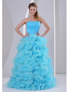 Beautiful Aqua Blue Sweetheart 2013 Prom Dress For Prom Party Beaded Decorate Up Bodice and Organza Ruffles