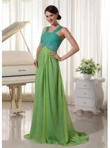 Brush Train Chiffon Straps Beading and Ruch Prom Dress Teal and Spring Green