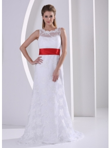 Column Bateau Lace Sash Romatic Beach Wedding Dress For Hall
