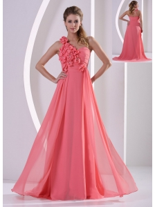 Customize Hand Made Flowers One Shoulder Watermelon Prom Evening Dress With Brush Train