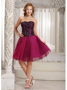 Design Own A-line Beading Brand New Cocktail Dress Fuchsia Tulle In New York
