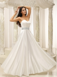 Elastic Woven Satin Sweetherat Beach Wedding Dress Beaded Decorate Waist Floor-length