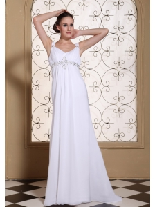 Elegant White Prom Dress For 2013 V-neck Beaded Decorate Bust Chiffon Brush Train Gown