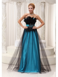 Feather and Beaded Decorate Bust Tulle and Taffeta Prom / Pageant Dress For 2013 Strapless and Floor-length