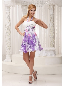 Halter Printing 2013 Prom / Homecoming Dress For Party Ruched Decorate Bust Mini-length Colorful