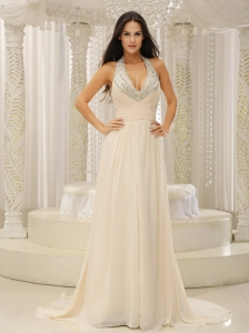 Halter Top With Beaded Ruched Bodice For Beautiful Prom Dress Customize