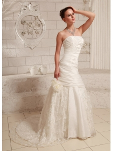 Hand Made Flower and Ruch A-line Customize Wedding Dress With Court Train Taffeta and Lace