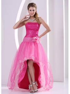 High-low Hot Pink Seqinces Decorate Hand Made Flower Prom Celebrity Dress With Organza