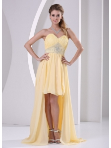 High-low Sweetheart Beaded Light Yellow Chiffon Detachable Prom / Homecoming Dress For Custom Made