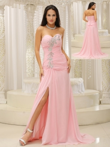 High Slit and Ruched Bodice For Evening Dress Beading Sweetheart For Custom Made