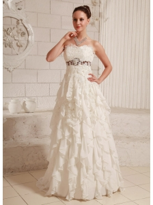 Lace and Chiffon Ruffled Pretty A-line Wedding Dress With Brush Train