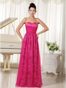 Leopard and Chiffon Sweetheart With Beaded Decorate Bodice Hot Pink Prom Dress