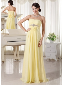 Light Yellow Chiffon Beaded Empire Prom / Evening Dress For New Arrival