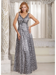 Long Leopard V-neck Empire Customize Prom Dress For Graduation