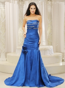 Mermaid Royal Blue and Court Train For Prom Dress Beaded Decoreta Bust Hand Made Flowers