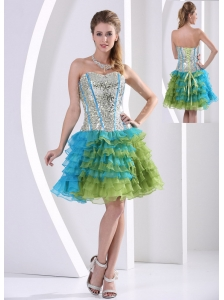 Multi-color Ruched Layered Beaded Decorate Bust Print Prom Dress Party Style