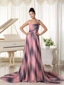 Ombre Color Chiffon One Shoulder Prom Dress With Court Train In New York