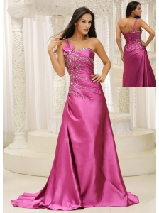 One Shoulder Beaded Decorate Bodice Satin For Prom Dress In California