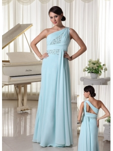 One Shoulder Chiffon Beaded Prom Dress For Custom Made Light Blue