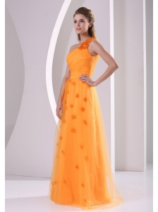 Orange Hand Made Flowers One Shoulder 2013 Prom / Evening Dress Tulle