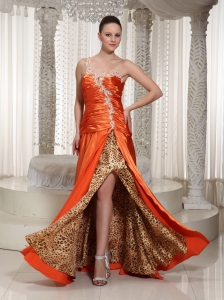 Ready To Wear High Slit One Shoulder Appliques With Beading Designer Prom Dress