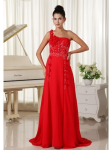 Red Evening Dress One Shoulder With Hand Made Flowers Beaded and Ruched Bodice