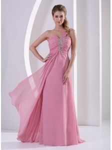 Rose Pink One Shoulder Chiffon 2013 Prom / Evening Dress With Beading Decorate Bust