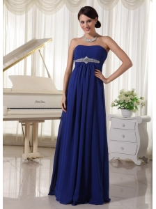Royal Blue Chiffon Empire Beaded Prom Dress For Formal Evening