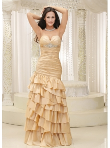 Ruffled Layers and Bodice Sweetheart Floor-length For Remarkable Prom Dress