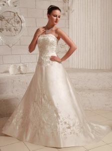 Satin Embroidery Over Bodice A-line Wedding Dress With Court Train