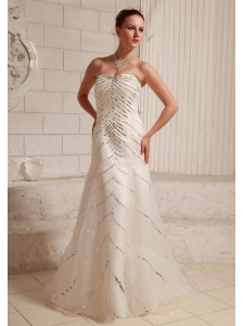 Sequins Over Bodice Sweetheart A-line Wedding Dress With Court Train Organza and Satin