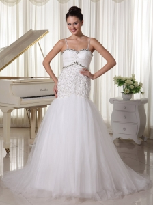 Spaghetti Straps Taffeta and Tulle A-line Wedding Dress With Beaded Decorate Up Bodice Court Train