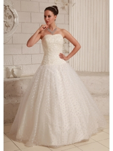 Strapless Appliques Ball Gown Special Tulle and Taffeta Wedding Dress Floor-length
