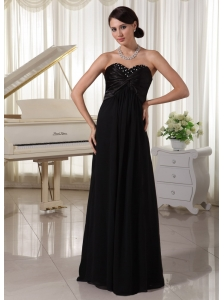 Sweetheart Beaded Black Satin and Chiffon Modest Dress For Formal Evening