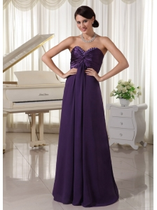 Sweetheart Beaded Dark Purple Prom / Evening Dress Satin and Chiffon