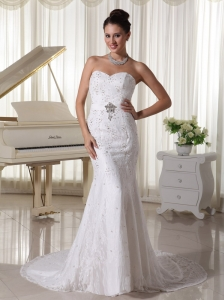 Sweetheart Court Train Sheath Wedding Gowns With Beading Over Bodice Lace and Elastic Woven Satin