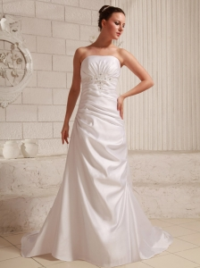 Taffeta Appliques With Beading and Ruch Low Cost Wedding Dress With Court Train A-line