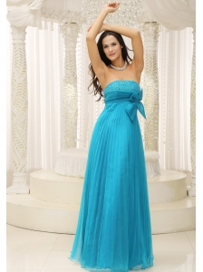 Teal Prom Dress With Bowknot Pleat Beading For Formal Evening In New York