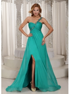 Turquoise One Shoulder High Slit Ruched Prom Graduation Dress With Beading In New York