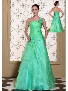 Turquoise One Shoulder Prom Dress For 2013 A-line Gown Hand Made Flowers Organza