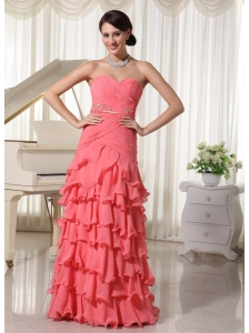Watermelon Red Chiffon Layered Column Prom Dress With Sweetheart Ruched Up Bodice and Beading Decorate Waist