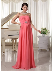 Watermelon Red Empire Chiffon Prom Dress With Beading and Ruch