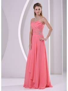 Watermelon Red Sweetheart Beaded and Ruched Chiffon For Prom Dress Party Style