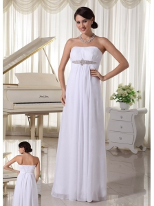 White Beaded Chiffon Simple Wedding Dress Empire Floor-length