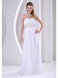 White Chiffon Beaded Sweep Train 2013 Prom / Evening Dress For Custom Made