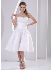 Wholesale A-line Strapless Ruch and Ruffles Tea-length Short Wedding Dress For Outdoor