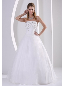 Zipper-up Organza A-line Beach Wedding Dress With Appliques and Beading